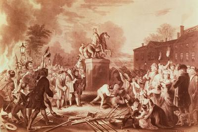 Pulling Down the Statue of George III in the Bowling Green in 1776, Engraved by John C. Mcrae