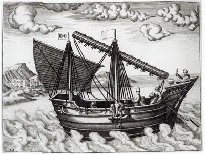 A Chinese Junk, illustration from 'His Discourse of Voyages into the East and West Indies'