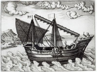 A Chinese Junk, illustration from 'His Discourse of Voyages into the East and West Indies' by Johannes Baptista van Doetechum