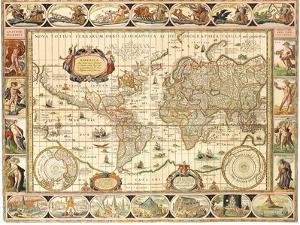 Early World Map 1630 by Johannes Blaeu