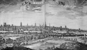 The City of Bristol (With Key), 1717 (Engraving) by Johannes Kip
