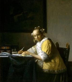 A Lady Writing a Letter by Johannes Vermeer