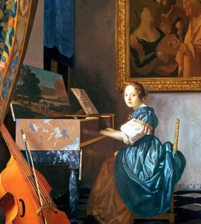 A Young Lady Seated at a Virginal, circa 1670 by Johannes Vermeer