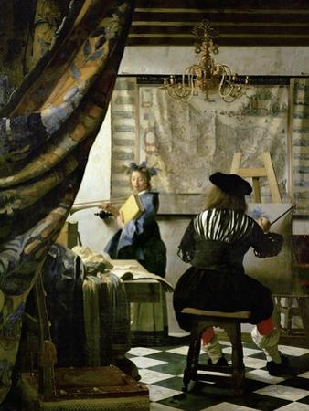 The painter (Vermeers self-portrait) and his model as Klio. by Johannes Vermeer