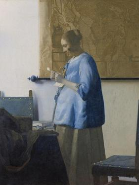 Woman Reading a Letter, C.1662-63 by Johannes Vermeer