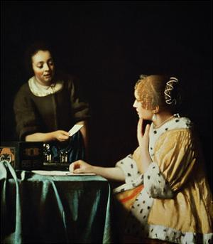 Woman with Maid and Letter by Johannes Vermeer