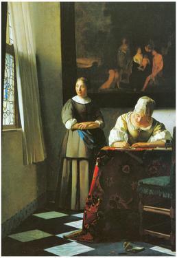 Johannes Vermeer Woman with Messenger Art Print Poster