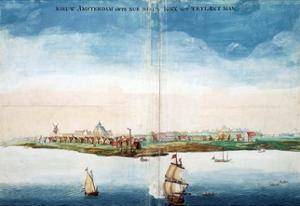 Gezicht Op Nieuw Amsterdam (A View of New Amsterdam, Aka New York City or Manhattan) by Johannes Vingboon