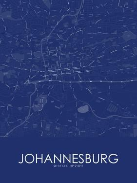 Johannesburg, South Africa Blue Map