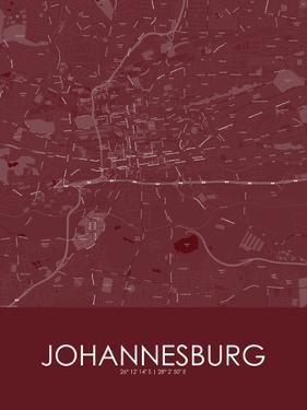 Johannesburg, South Africa Red Map