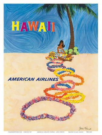 Hawaii - American Airlines - Native Hawaiian Girl Making Leis by John A. Fernie