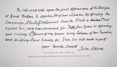 Part of a Letter Written and Signed by President John Adams