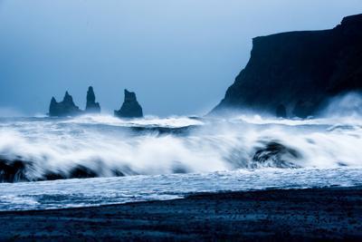 Crashing waves on Black Sand Beach, Iceland, Polar Regions