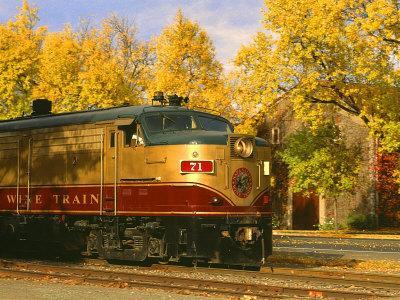 Napa Valley Wine Train Rolls through Rutherford, California, USA