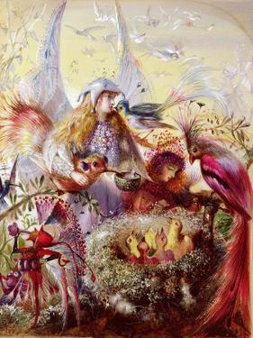Fairies with Birds (W/C) by John Anster Fitzgerald
