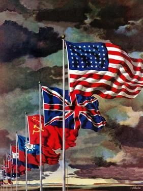 """""""Allied Forces Flags,"""" July 3, 1943 by John Atherton"""