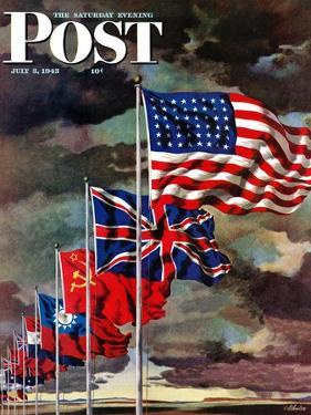 """""""Allied Forces Flags,"""" Saturday Evening Post Cover, July 3, 1943 by John Atherton"""