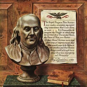 """""""Benjamin Franklin - bust and quote,"""" January 19, 1946 by John Atherton"""