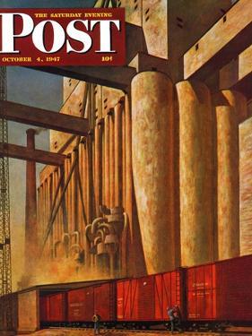 """Boxcars at Grain Elevators,"" Saturday Evening Post Cover, October 4, 1947 by John Atherton"