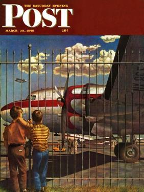 """""""Boys at Airport,"""" Saturday Evening Post Cover, March 30, 1946 by John Atherton"""