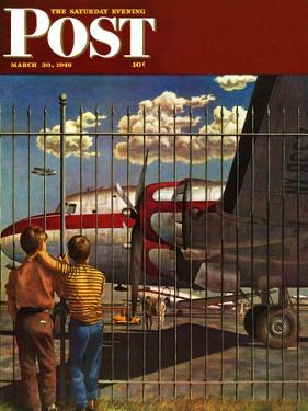 """Boys at Airport,"" Saturday Evening Post Cover, March 30, 1946 by John Atherton"