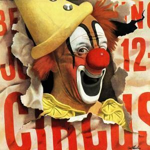 """""""Circus Clown and Poster,"""" July 8, 1944 by John Atherton"""