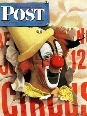 """Circus Clown and Poster,"" Saturday Evening Post Cover, July 8, 1944 by John Atherton"