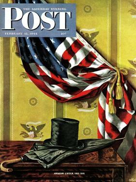 """""""Commemorating Lincoln's Birthday,"""" Saturday Evening Post Cover, February 12, 1944 by John Atherton"""