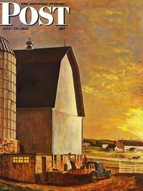"""""""Dairy Farm,"""" Saturday Evening Post Cover, July 19, 1947 by John Atherton"""