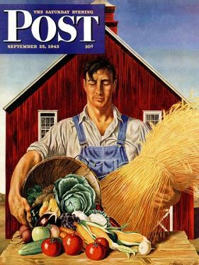 """Fall Bounty,"" Saturday Evening Post Cover, September 25, 1943 by John Atherton"