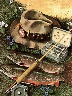 """Fishing Still Life,"" April 15, 1944 by John Atherton"