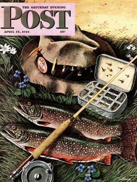 """Fishing Still Life,"" Saturday Evening Post Cover, April 15, 1944 by John Atherton"
