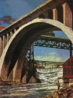 """Fishing Under Bridge,"" June 12, 1948 by John Atherton"