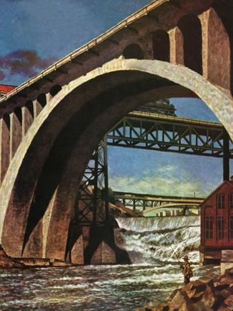 """""""Fishing Under Bridge,"""" June 12, 1948 by John Atherton"""