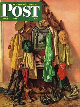 """Loaded Coat Rack,"" Saturday Evening Post Cover, April 14, 1945 by John Atherton"