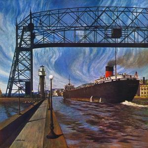 """Ore Barge,"" June 14, 1947 by John Atherton"