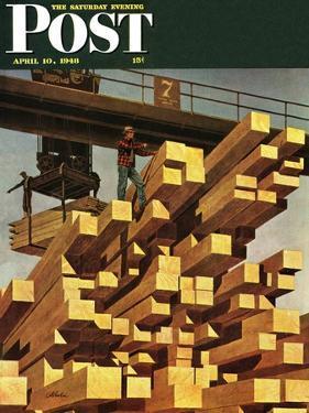 """Oregon Sawmill & Lumberyard,"" Saturday Evening Post Cover, April 10, 1948 by John Atherton"