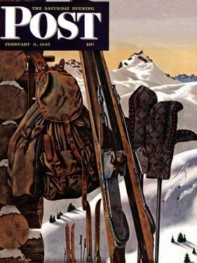 """Ski Equipment Still Life,"" Saturday Evening Post Cover, February 3, 1945 by John Atherton"
