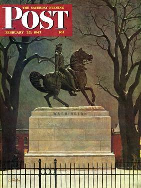"""""""Statue of Washington on His Horse,"""" Saturday Evening Post Cover, February 22, 1947 by John Atherton"""