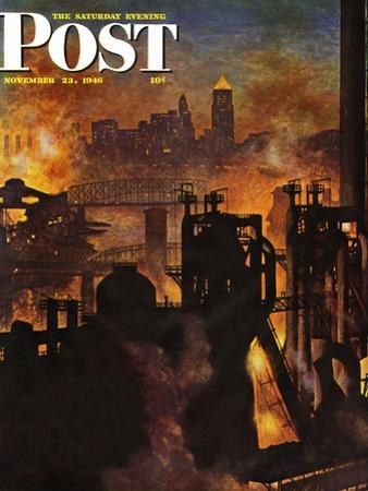 """Steel Mills,"" Saturday Evening Post Cover, November 23, 1946 by John Atherton"