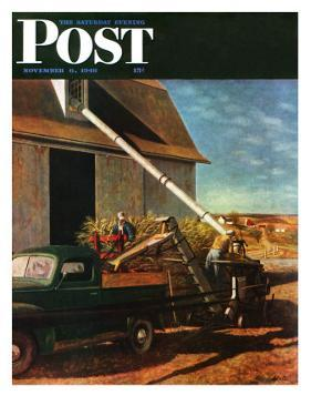 """Storing the Corn,"" Saturday Evening Post Cover, November 6, 1948 by John Atherton"
