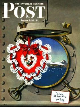"""""""Valentine's Day at Sea,"""" Saturday Evening Post Cover, February 13, 1943 by John Atherton"""