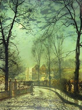 A Moonlit Road, 19th Century by John Atkinson Grimshaw