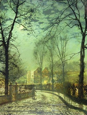 A Moonlit Road, 19th Century by John Atkinson Grimshaw