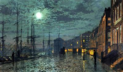 City Docks by Moonlight by John Atkinson Grimshaw