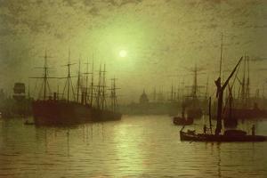 Nightfall Down the Thames, 1880 by John Atkinson Grimshaw