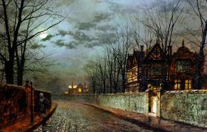 Old English House, Moonlight After Rain, 1883 by John Atkinson Grimshaw