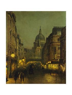 St. Paul's Cathedral from Ludgate Circus, London, England by John Atkinson Grimshaw