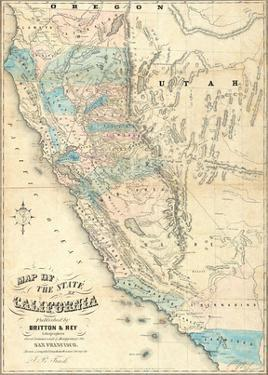 Map of the State of California, c.1853 by John B. Trask