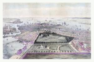 Bird's Eye View of Boston Drawn from Nature and on Stone, Circa 1850, USA, America by John Bachmann